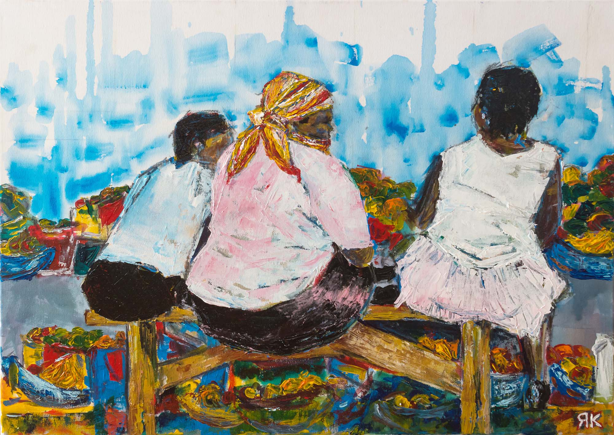 Three women sitting at a market in South Africa by Ria Kieboom