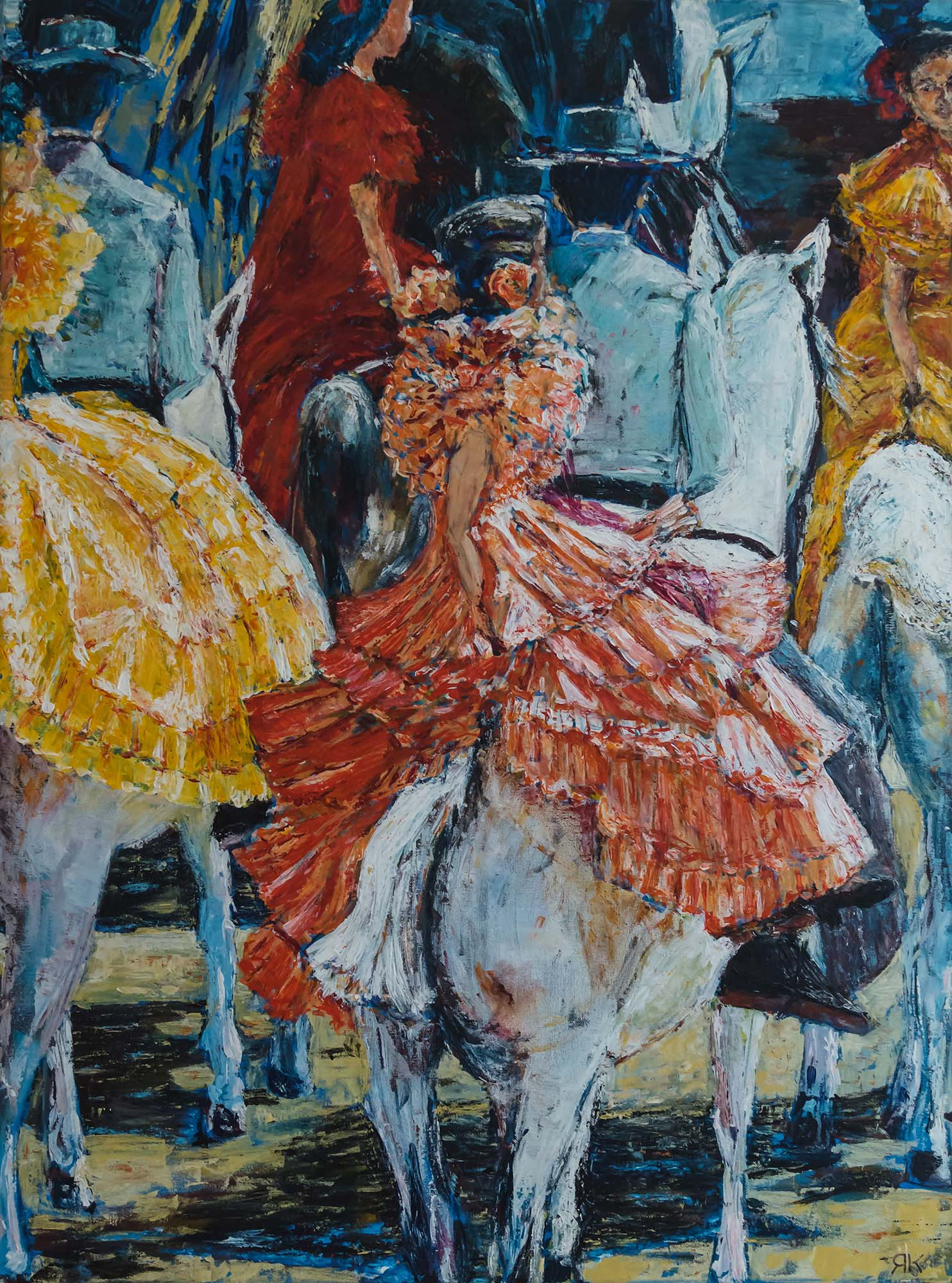 Women in flamenco dresses on horses in Andalucia by Ria Kieboom