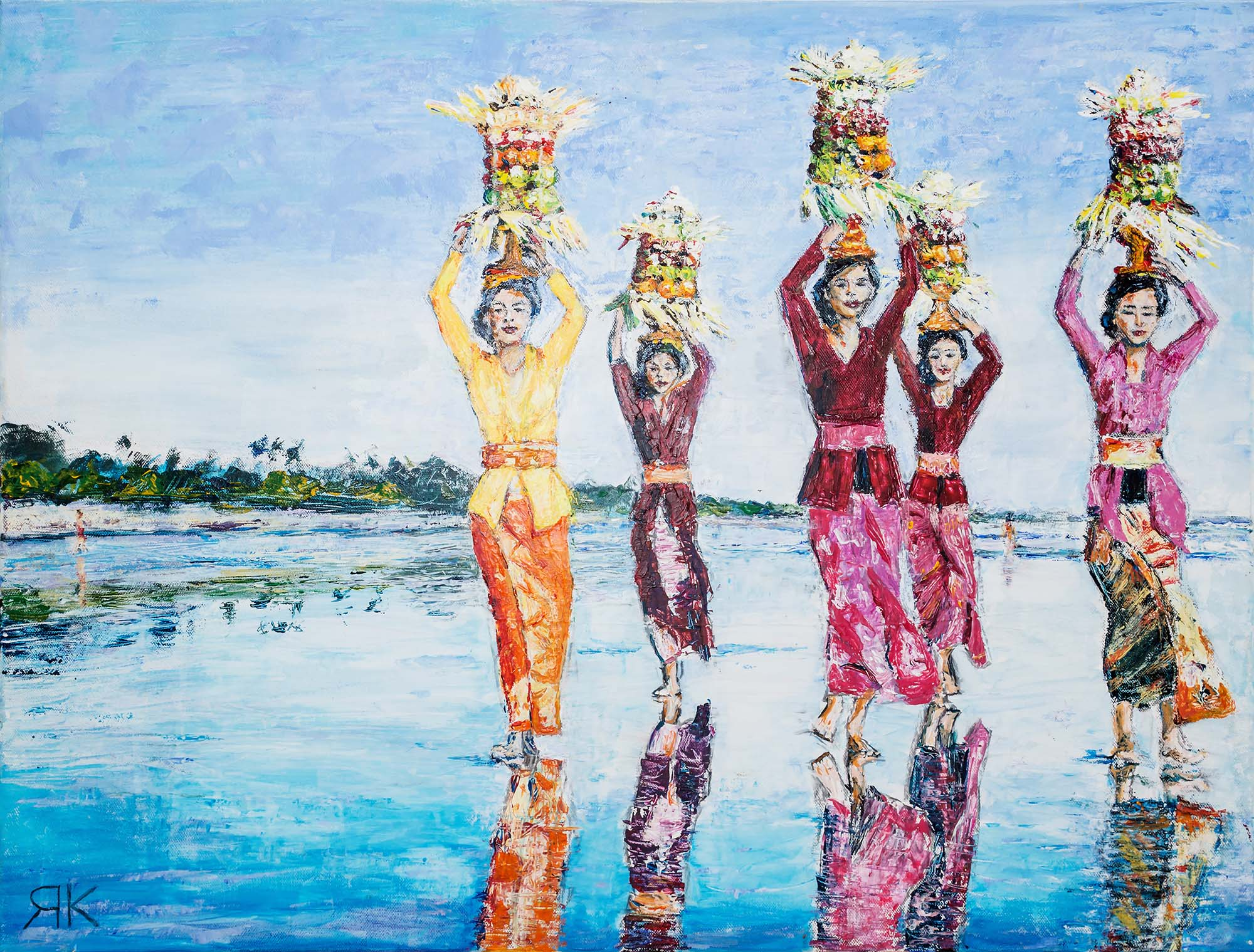 Bali women walking along the beach with offerings on their heads by Ria Kieboom