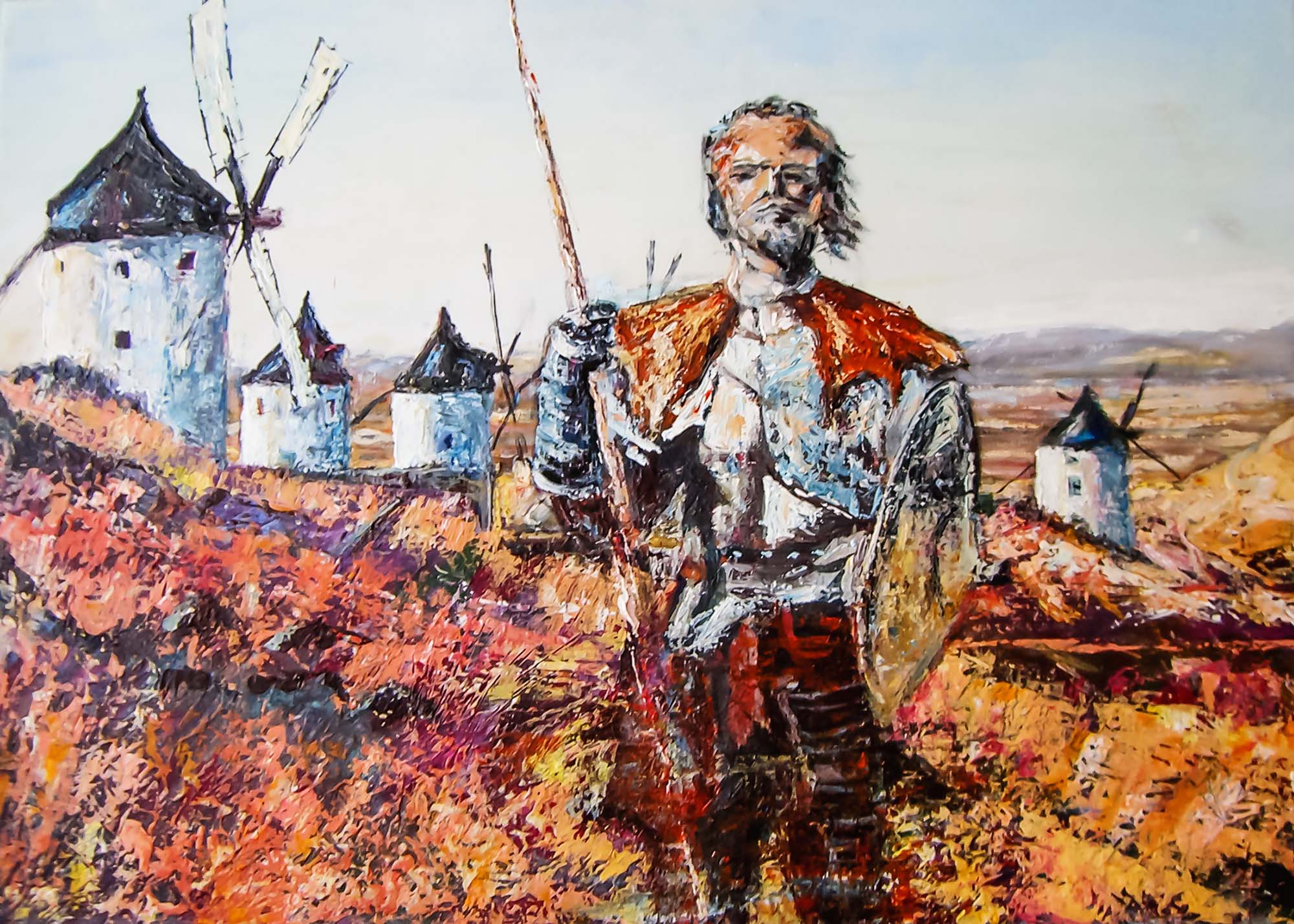 Don Quichote in front of windmills, Spain by Ria Kieboom