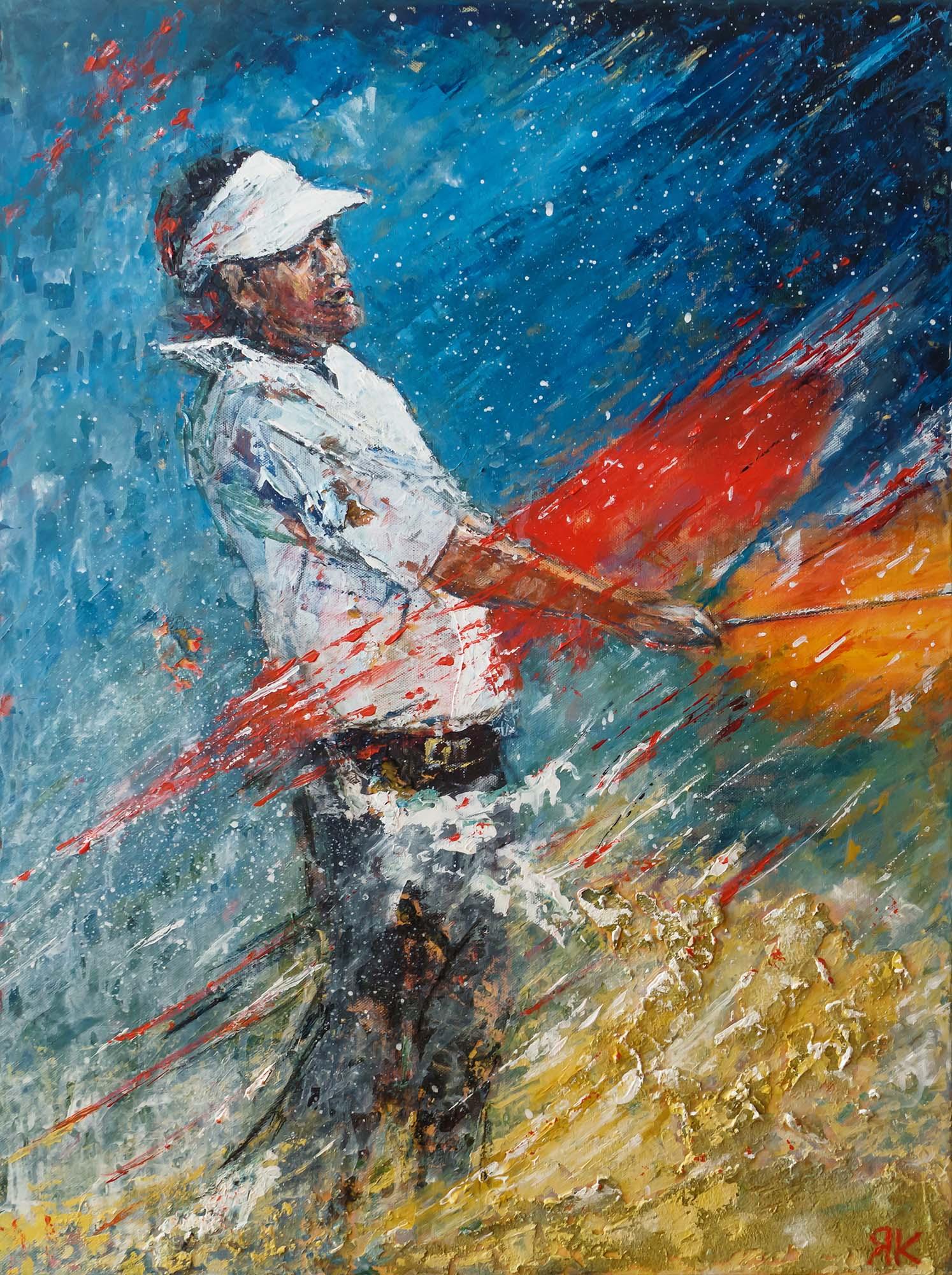 Golf player on colorful field by Ria Kieboom