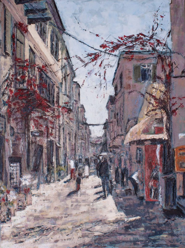 Greek street impression with walking people by Ria Kieboom