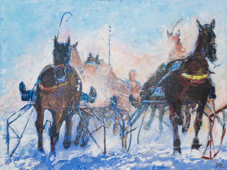 Horse race on snow by Ria Kieboom
