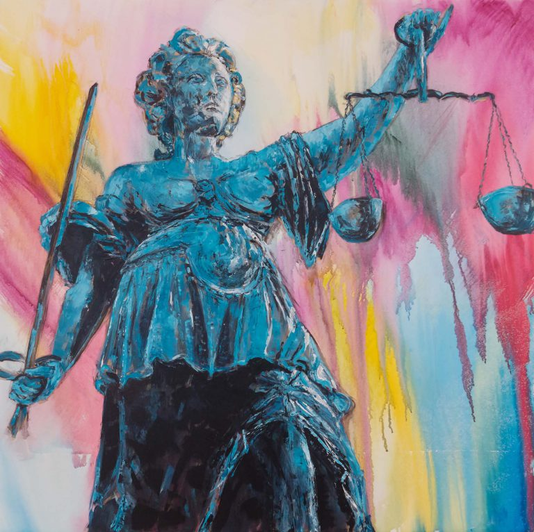 Blue Justitia statue on colorful background by Ria Kieboom