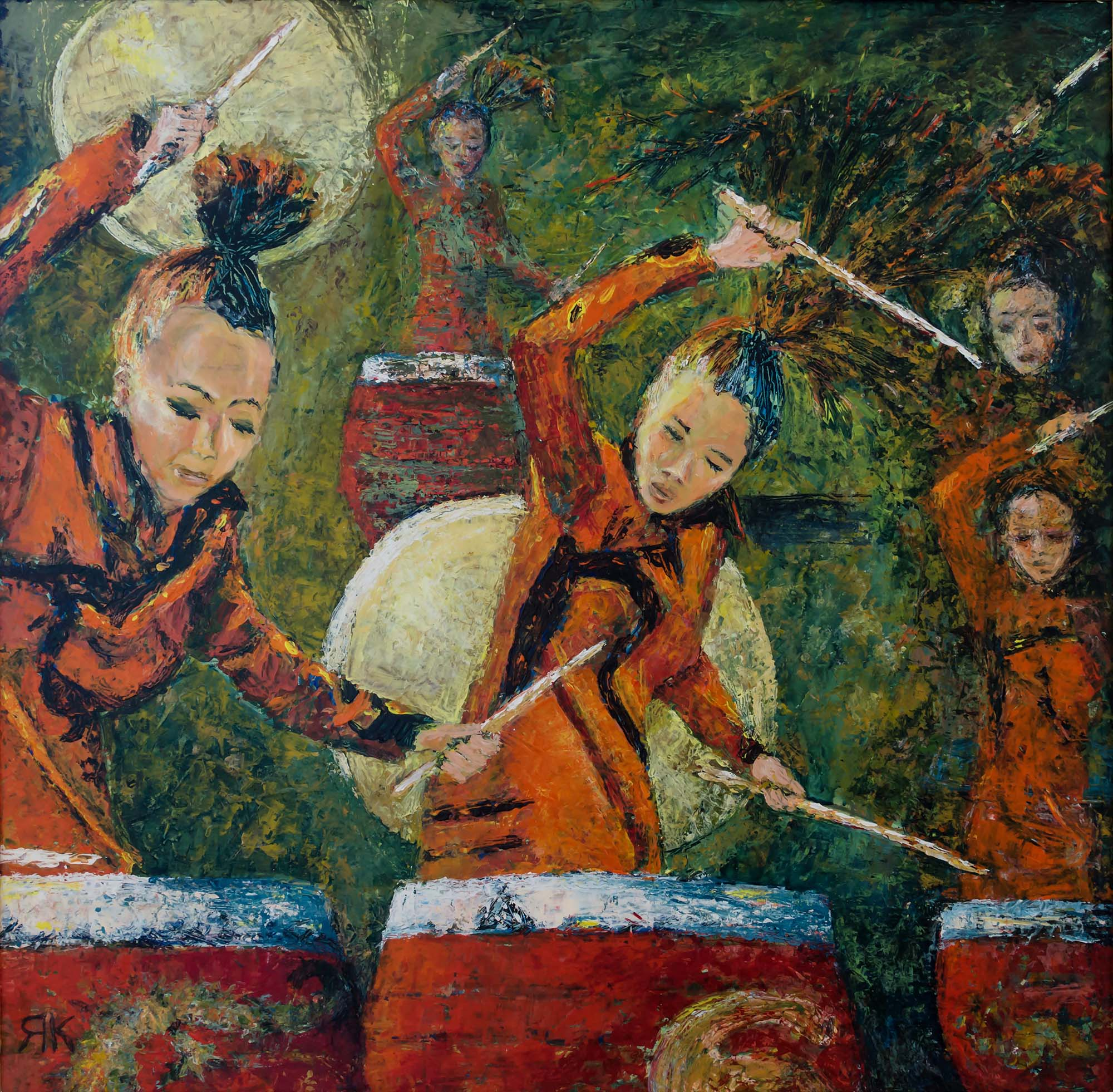 Chinese women playing manoa drums by Ria Kieboom