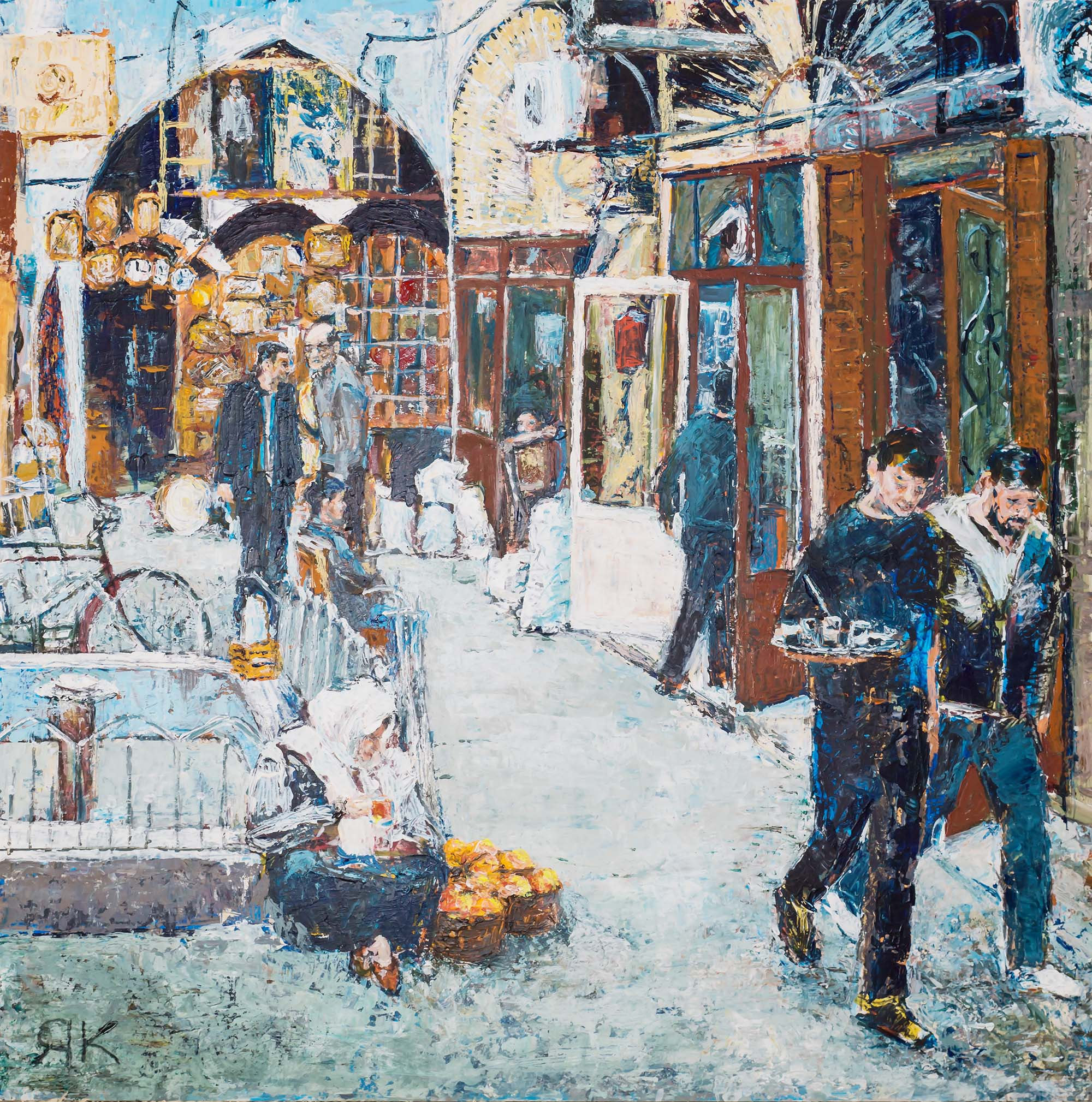 Turkish bazar market with visitors by Ria Kieboom