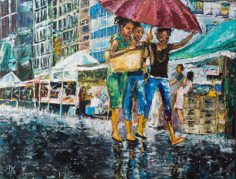 Three girls walking under an umbrella in the rain in New York by Ria Kieboom