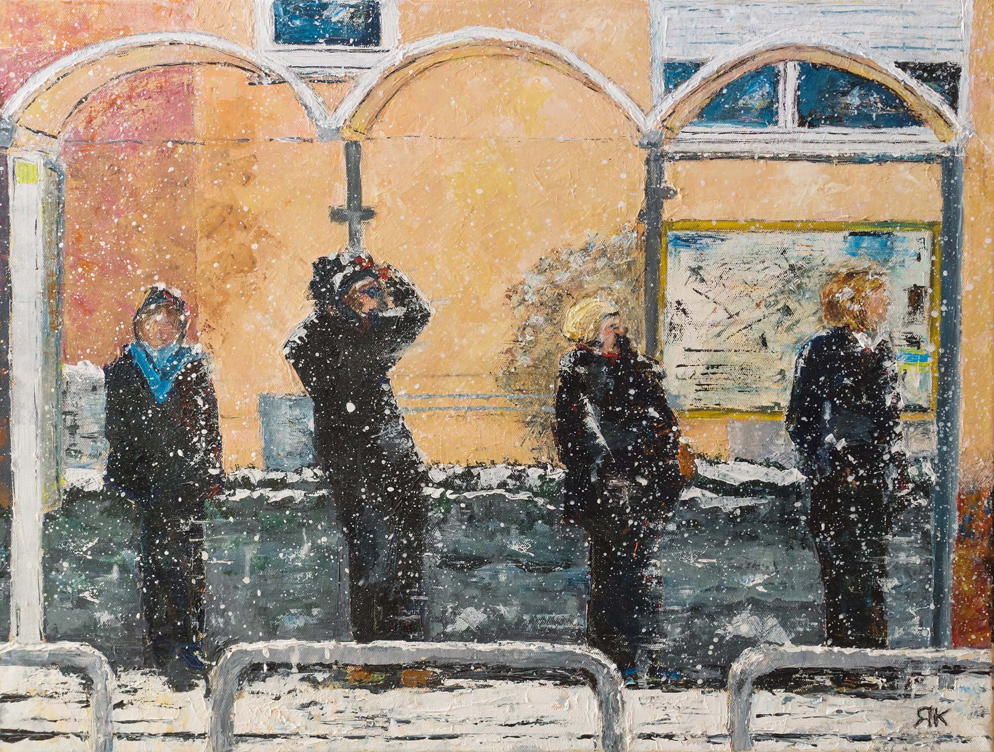 Four people waiting at a bus station in the snow by Ria Kieboom