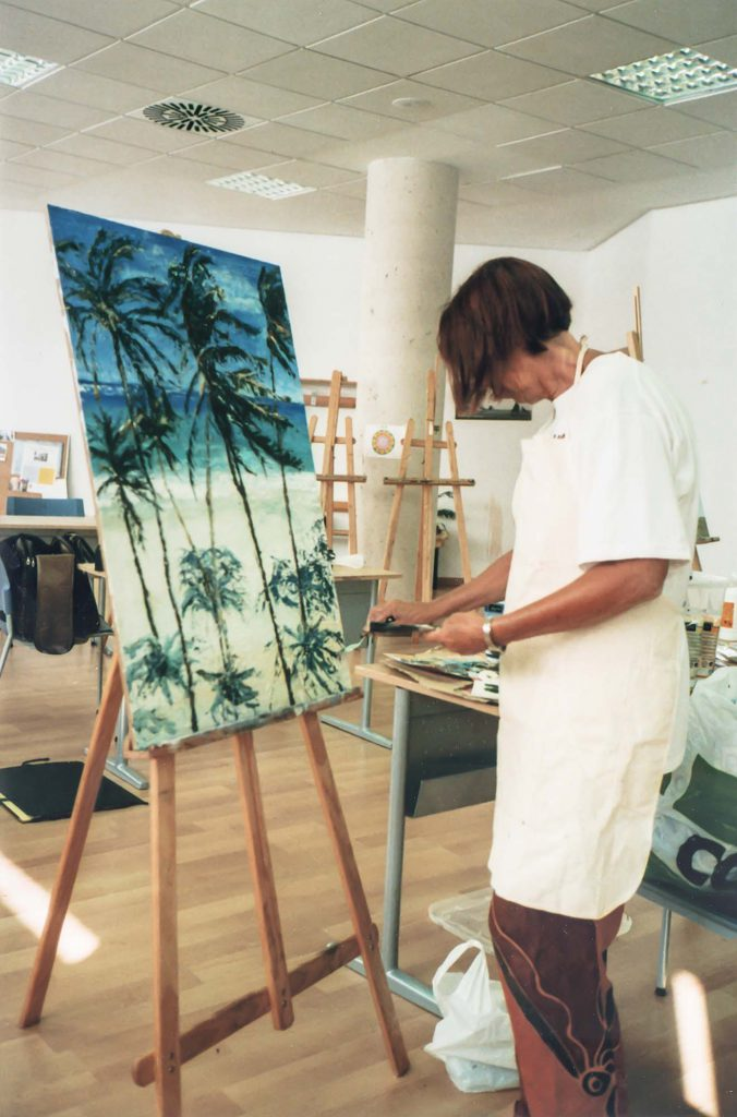 Ria Kieboom working on a painting