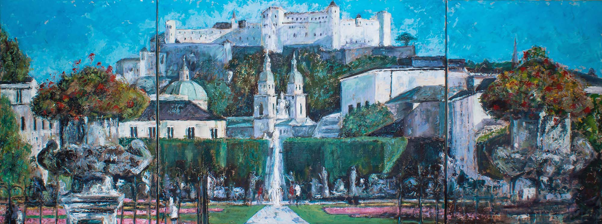 Panorama view of Salzburg Mirabell garden, old town and castle, Austria by Ria Kieboom
