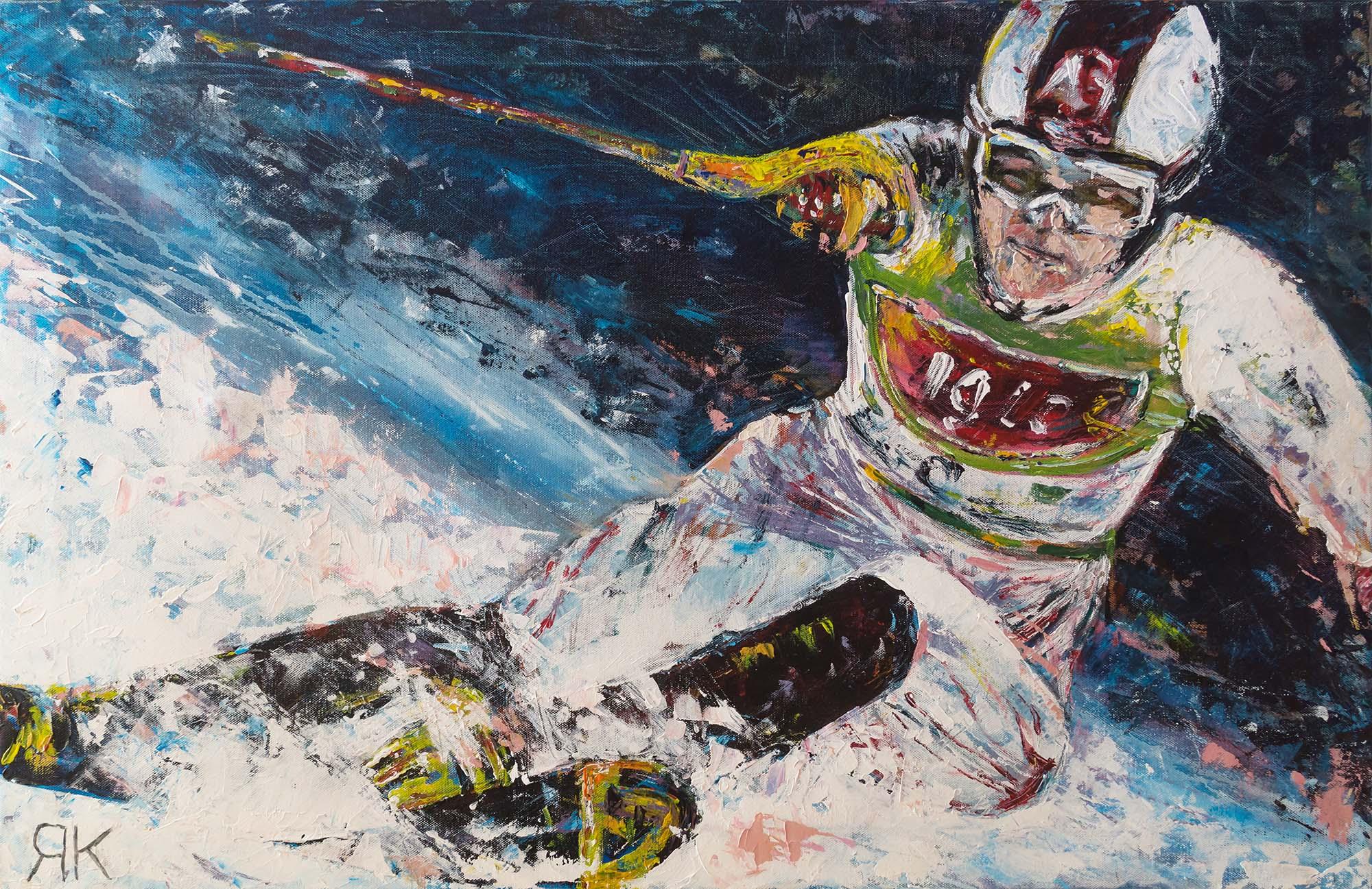 Skiing man at a race by Ria Kieboom
