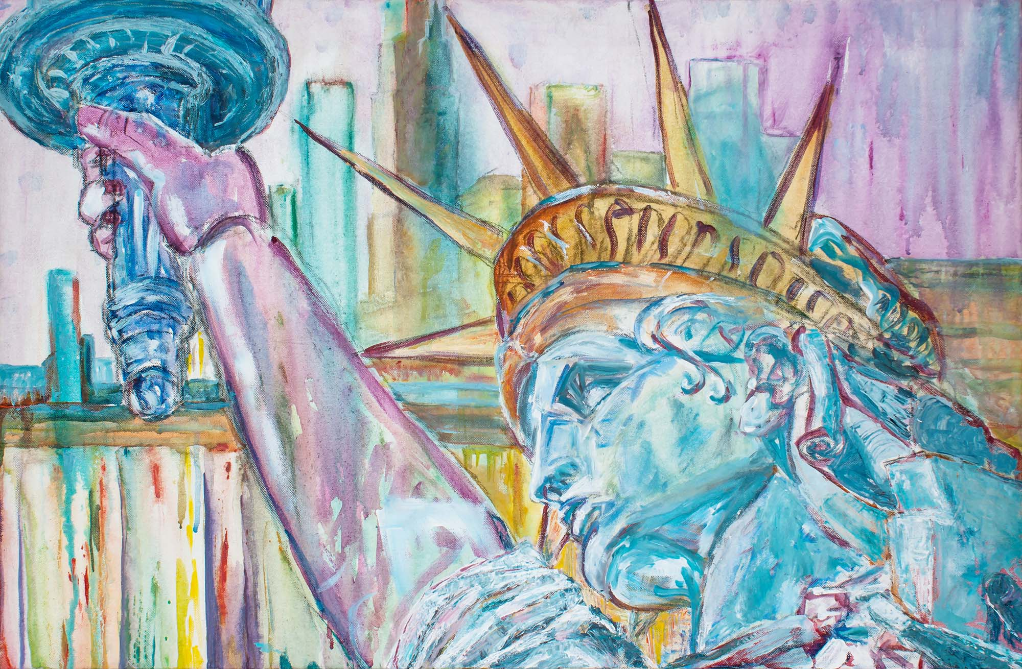 Statue of liberty head and flame with cityscape by Ria Kieboom