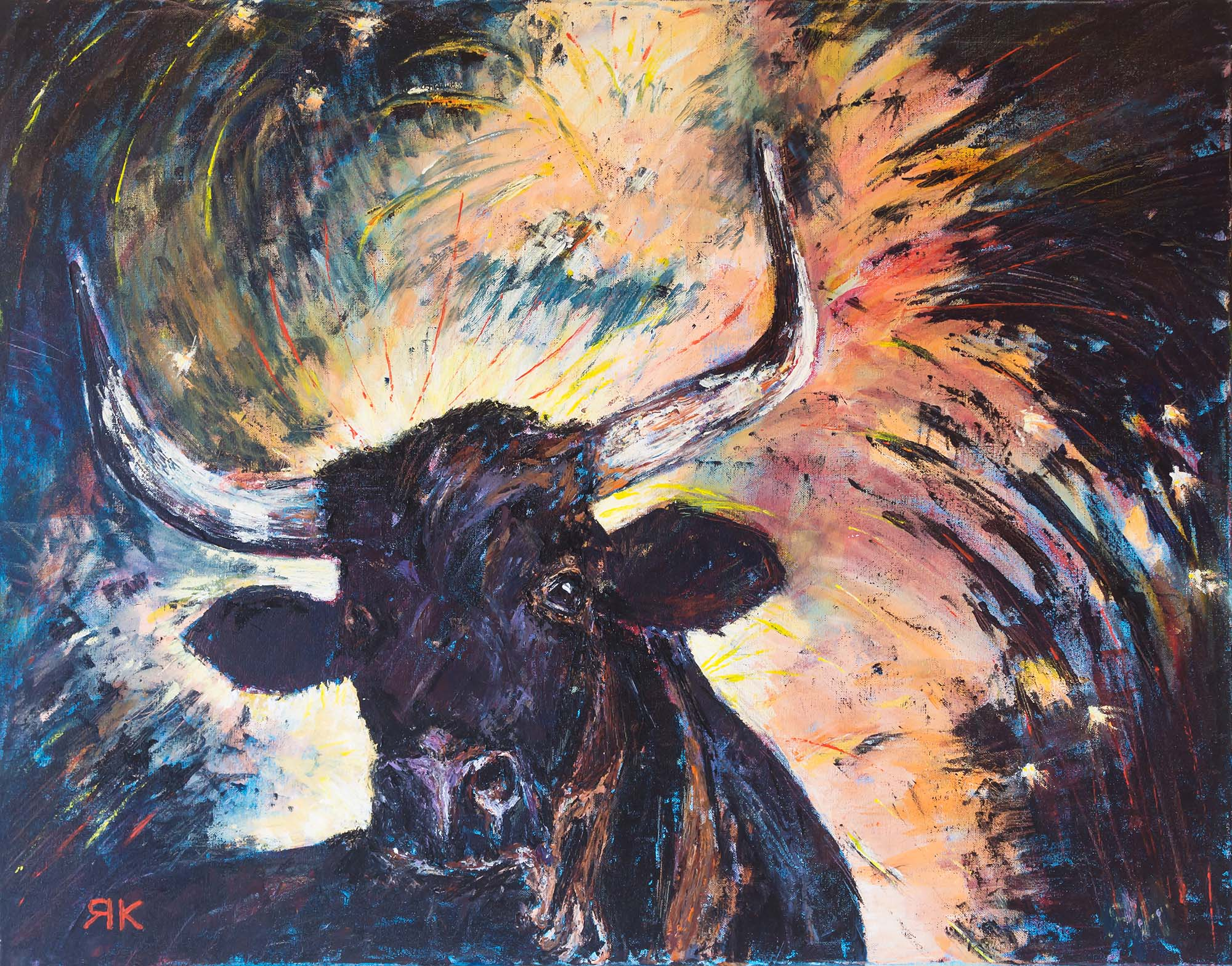 Spanish black bull on colorful background by Ria Kieboom
