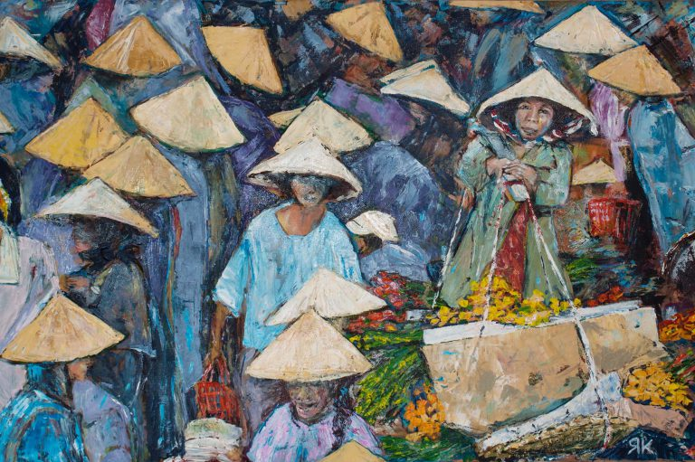 Vietnamese people with straw hats in market crowd by Ria Kieboom
