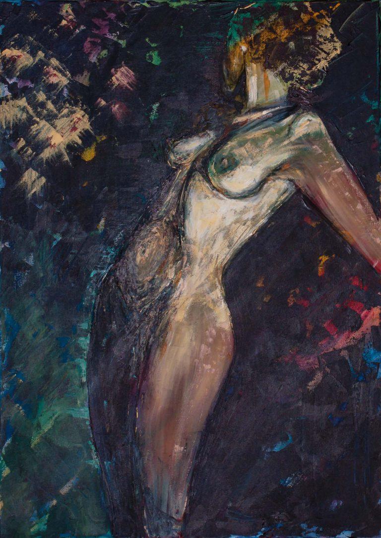 Nude act of woman in dark colors by Ria Kieboom