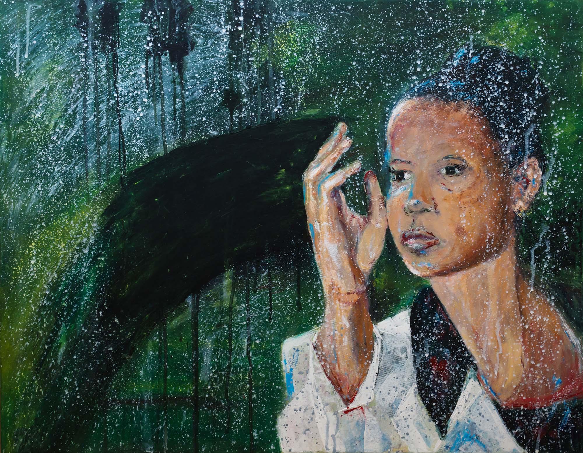 Woman behind rainy window by Ria Kieboom