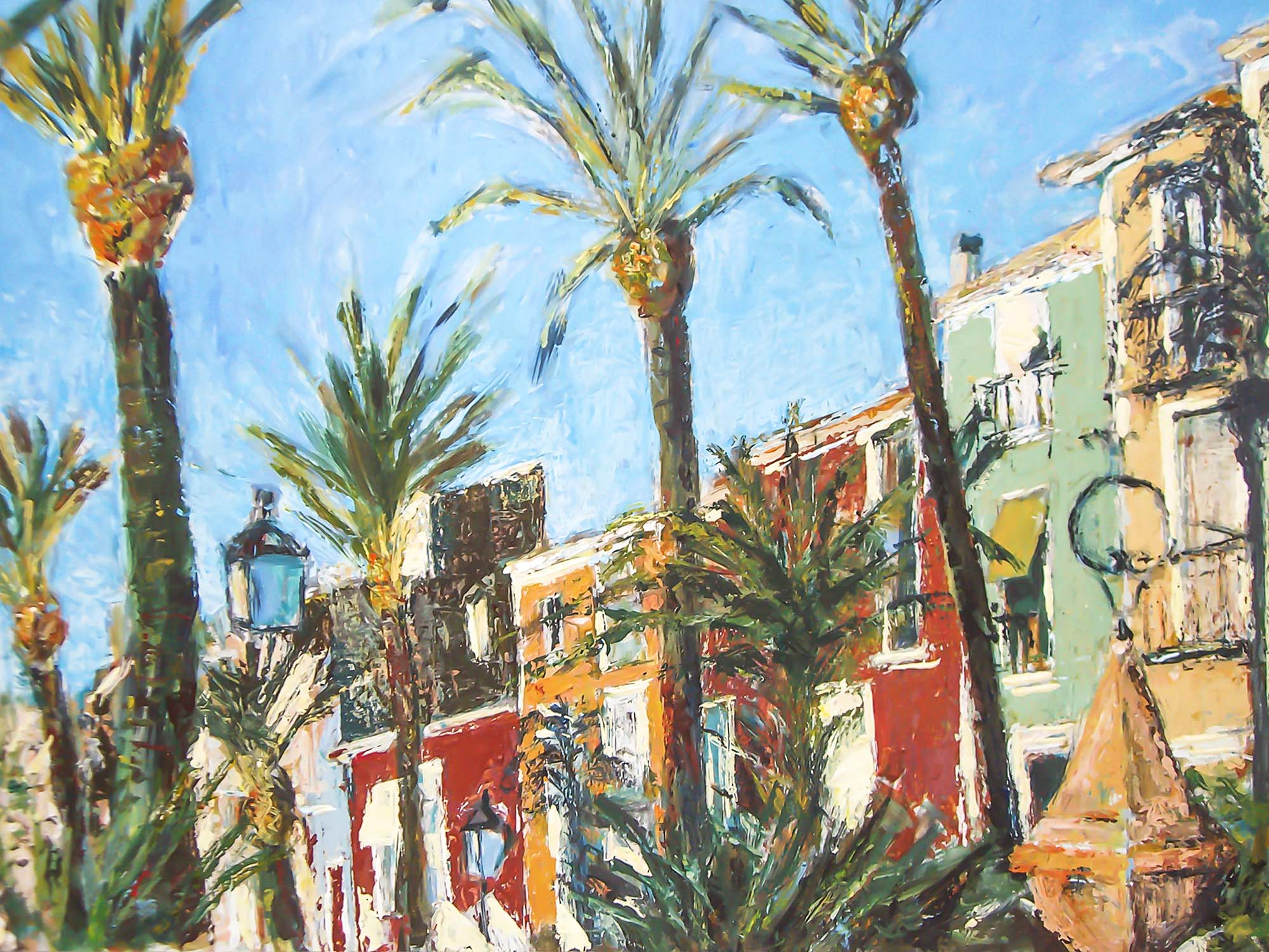 Spanish street with palm trees in Villajoyosa, Spain by Ria Kieboom