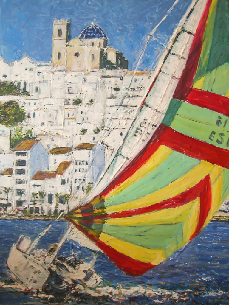 Sail boat on ocean with view on Altea hill with church, Spain by Ria Kieboom